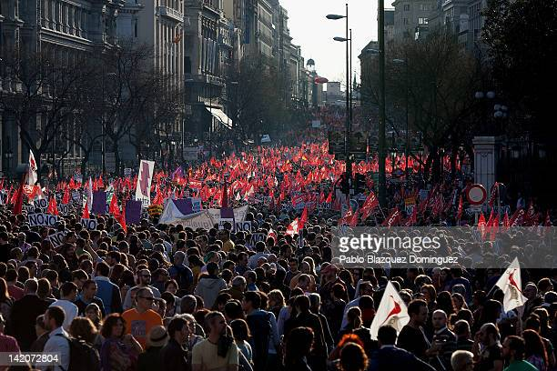 Demonstrators crowd Cibeles Square during a general strike on March 29 2012 in Madrid Spain Spanish workers staged a general strike to protest...