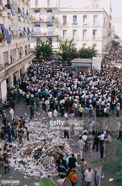 Demonstrators crowd the streets of Algiers after riots broke out instigated by rising food prices in a country with an unemployment rate of more than...