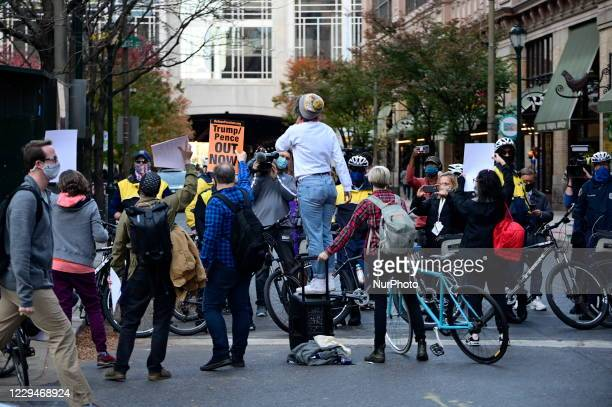 Demonstrators demand continued counting of ballets outside the Pennsylvania Convention Center, in Philadelphia, PA, on November 4, 2020.