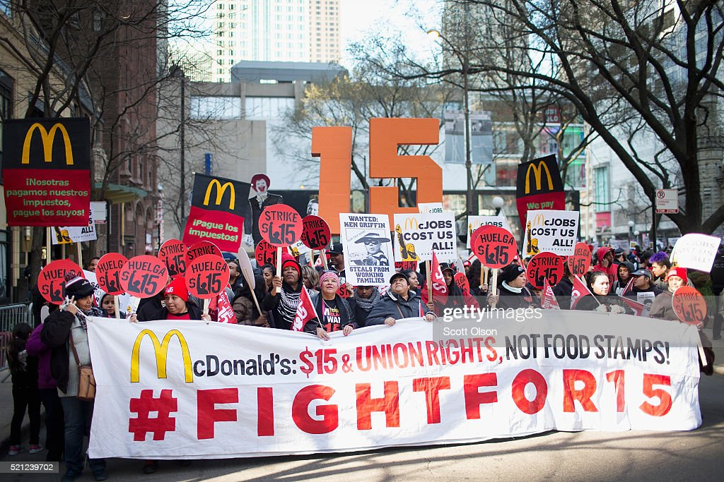 Low-Wage Workers Strike And Rally For $15 Wage In Chicago : News Photo