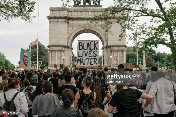 Demonstrators denouncing systemic racism in law enforcement and the May 25th killing of George Floyd by a Minneapolis Police officer gather at a...