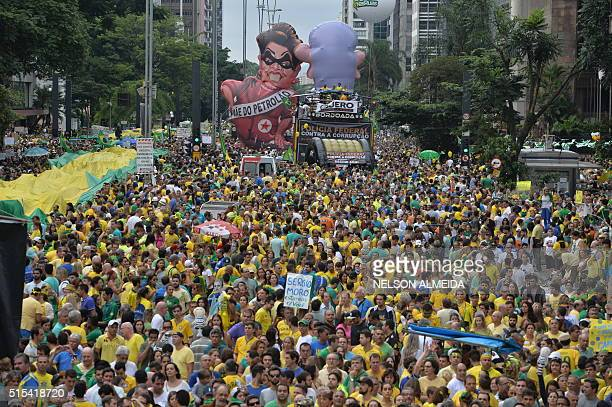 Demonstrators during a protest against Brazilian President Dilma Rousseff and the ruling Workers' Party at Paulista Avenue in Sao Paulo Brazil on...