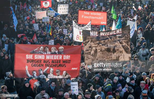 Demonstrators during a protest against the ENF congress in Koblenz Germany 21 January 2017 With the slogan 'Koblenz stays colorful' demonstrators are...