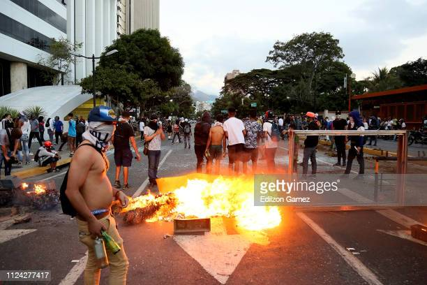 Demonstrators during a protest against the government of Nicolas Maduro at Plaza Altamira after opposition leader and head of the National Assembly...