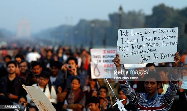 Demonstrators during a protest at Vijay Chowk following a brutal gang rape of 23 year Para medical student in a moving bus on December 22 2012 in New...