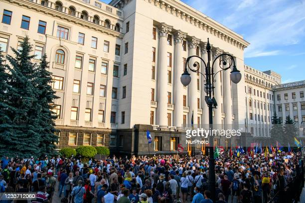 Demonstrators during an anti-presidential rally outside the President's office organised by opposition parties and movements to demand his...