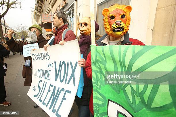 Demonstrators during the forbidden COP21 demonstration on November 29 2015 in Paris France The demonstration was banned after the Paris terror...