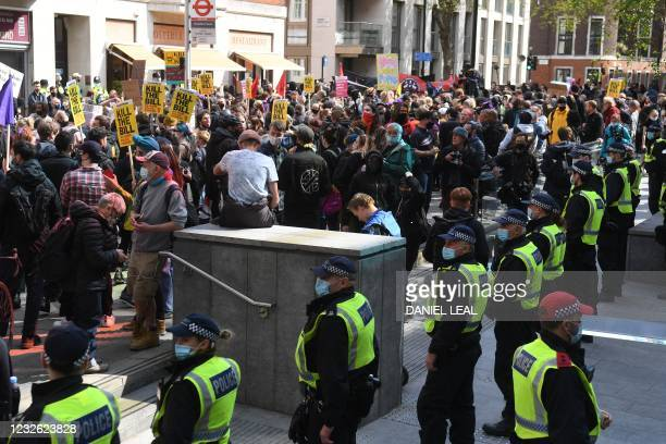 Demonstrators face a line of police outside the Home Office as they take part in a protest against the Police, Crime, Sentencing and Courts Bill 2021...