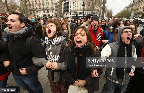 Demonstrators fighting with riot police during the forbidden COP21 demonstration on November 29 2015 in Paris France The demonstration was banned...