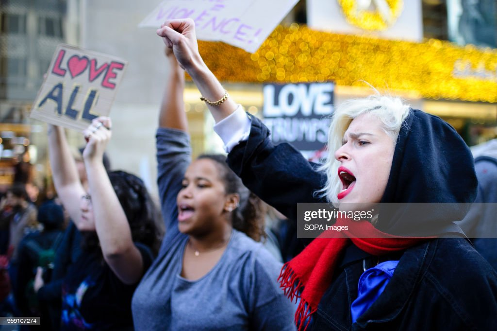 Demonstrators fill 5th Avenue in Midtown Manhattan during a... : News Photo