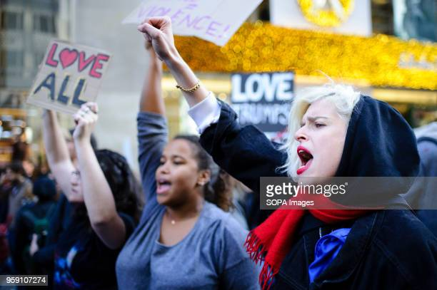 Demonstrators fill 5th Avenue in Midtown Manhattan during a march to Trump Tower on the fourth straight day of protests in the city following Donald...