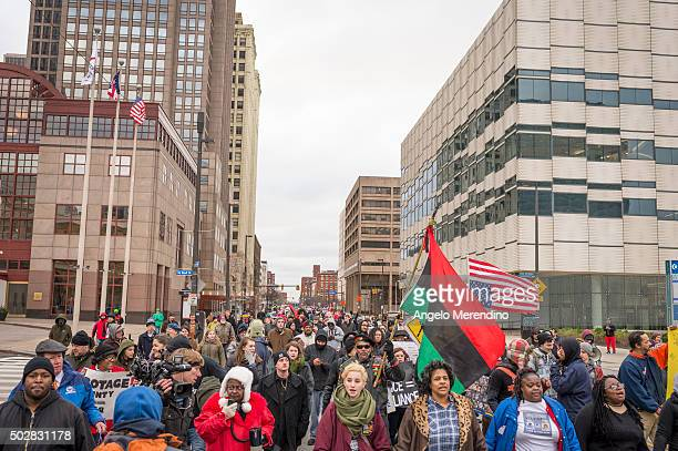 Demonstrators fill the St Clair Ave blocking traffic on December 29 2015 in Cleveland Ohio Protestors took to the street the day after a grand jury...