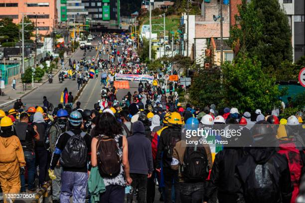 Demonstrators flood streets as demonstrations ended in late-night clashes between riot police and Demonstrators as Colombia marks 3 months of...