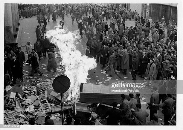 Demonstrators for the return of Trieste to Italy setting the streets on fire Trieste 1953