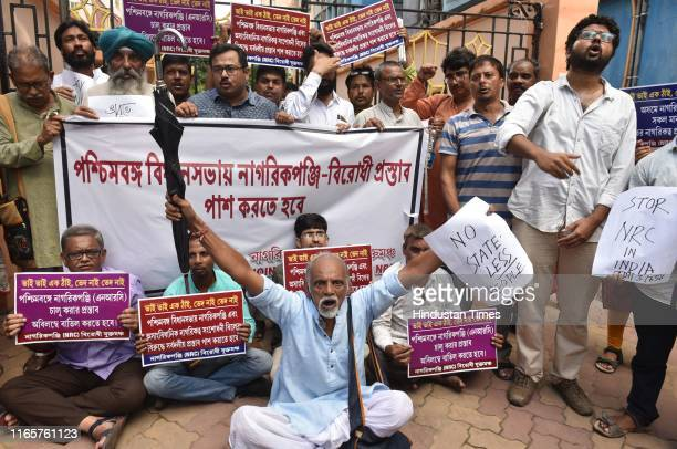 Demonstrators from the Joint Forum Against NRC during a sit in protest against the National Register of Citizens list released in Assam which...