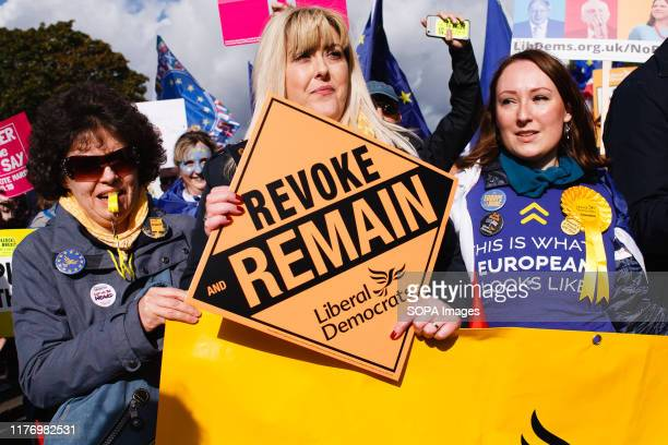 Demonstrators from the unequivocally proRemain Liberal Democrats gather at Park Lane with placards during the protest A mass 'Together for the Final...