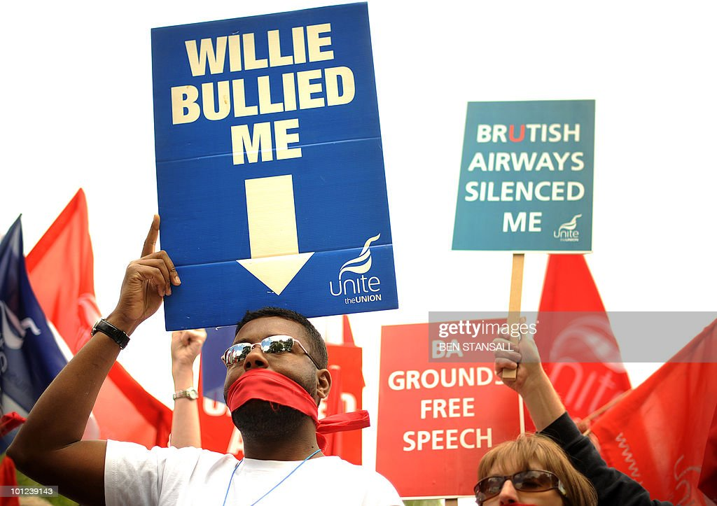 Demonstrators from the Unite Union protest in favour of striking British Airways cabin crew on the fifth day of a five-day strike, in London on May 28, 2010. British Airways, which is slashing costs and merging with Spanish rival Iberia in a bid to return to profitability, has been hit hard by the global economic downturn which has decreased demand for air travel. The Unite Union are planning two further five-day strikes, starting on May 30 and June 5.