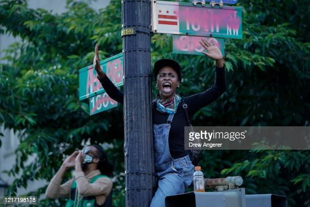 Demonstrators gather at Lafayette Park for protest against police brutality and the death of George Floyd, on June 2, 2020 in Washington, DC....