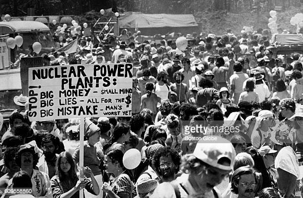 Demonstrators gather at the protest site of the Seabrook NH nuclear plant in Seabrook NH on June 25 1978 The Clamshell Alliance an antinuclear...