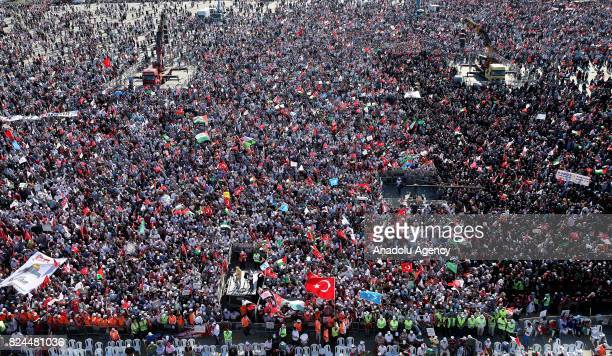 Demonstrators gather at Yenikapi Square to attend a rally organized by Turkish NGOs to show solidarity with Palestinians following the recent Israeli...