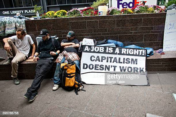 Demonstrators gather at Zuccotti Park where hundreds of people have camped out in Lower Manhattan for 12 days on Wednesday September 28 2011...