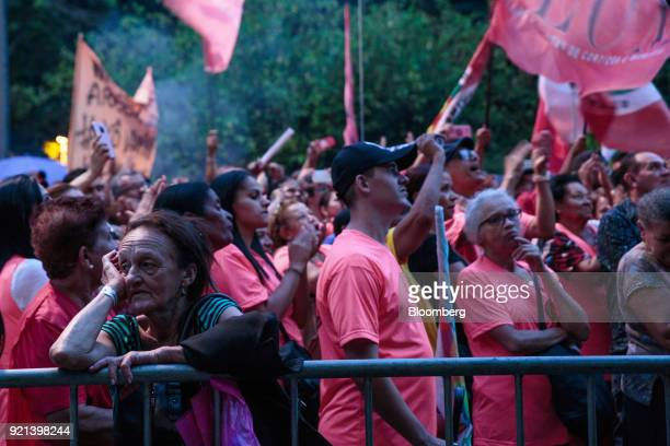 Demonstrators gather during a protest against pension reform in Sao Paulo Brazil on Monday Feb 19 2018 There may be a new twist in the fate of...
