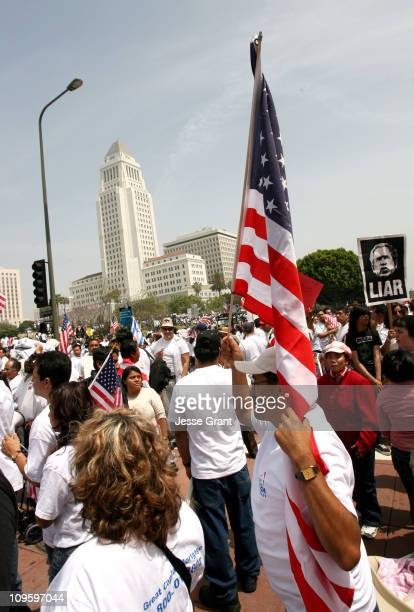 Demonstrators gather during a rally as part of the Day Without Immigrants national protest on May 1 2006 in Los Angeles Nation wide demonstrations...