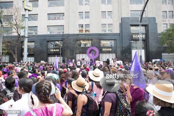 Demonstrators gather during a rally on International Women's Day in Mexico City Mexico on Friday March 8 2020 The United Nations first recognized...
