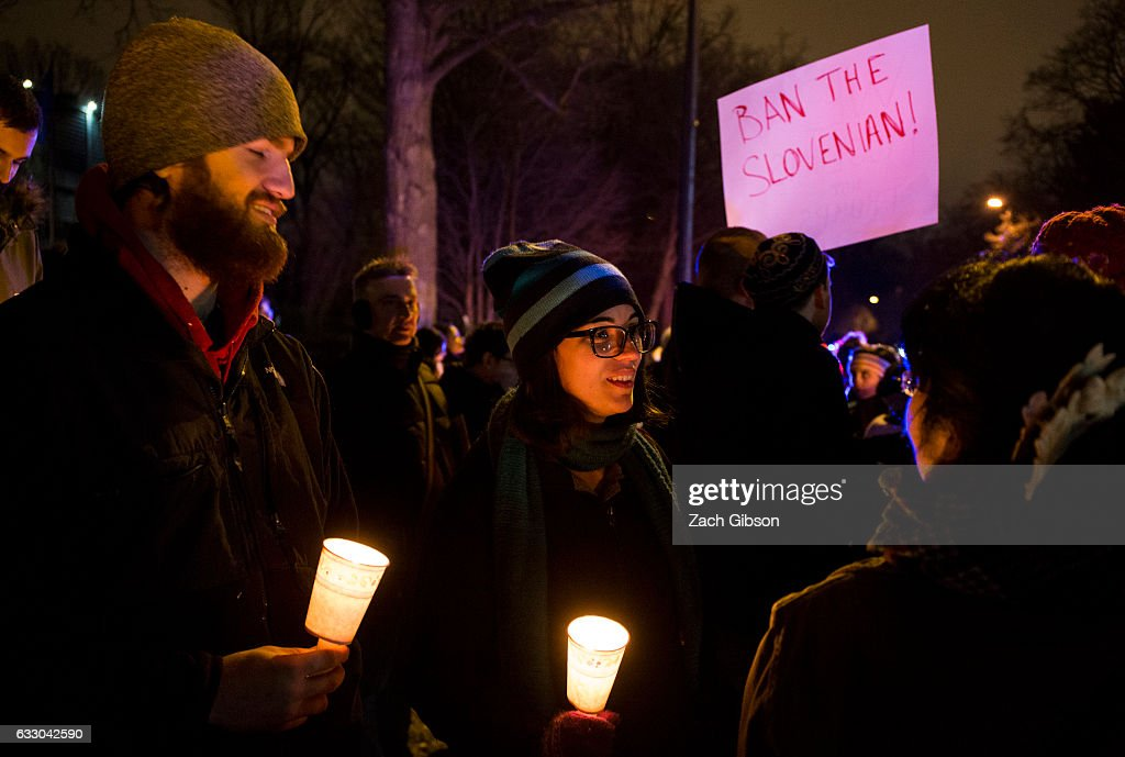 Demonstrators gather during a vigil near the Naval Observatory on January 29, 2017 in Washington, DC. Protestors in Washington and around the country gathered to protest President Donald Trump's executive order barring the citizens of Muslim-majority countries Iraq, Syria, Iran, Sudan, Libya, Somalia and Yemen from traveling to the United States.