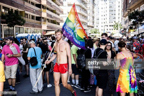 Demonstrators gather during the annual Pride parade in Budapest, Hungary, on Saturday, July 24, 2021. Brussels isthreatening actionover an LGBTQ...