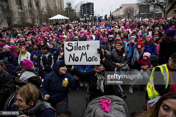 Demonstrators gather during the Women's March on Washington in Washington, D.C., U.S., on Saturday, Jan. 21, 2017. The day after Donald Trump's...