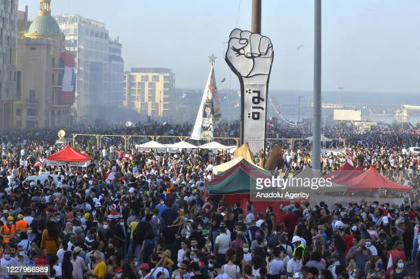 Demonstrators gather for a protest against government at the Martyrs' Square after the deadly explosion at the Port of Beirut led to massive blasts...