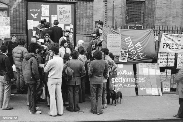 Demonstrators gather for a protest over staff lockouts at the WBAI FM radio station New York New York May 18 1977 The protest stemmed from rumours of...