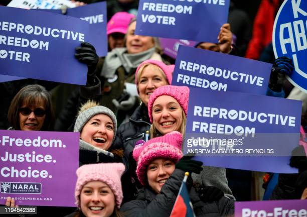 Demonstrators gather for the 4th annual Womens March in Washington, DC, on January 18, 2020.