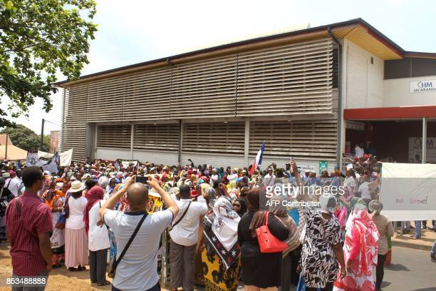 Demonstrators gather in front of the Mayotte Hospital where 75 percent of mothers of infants born in 2016 are foreign natives during a protest...