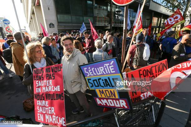 Demonstrators gather in front of the offices of the French Ministry of Sports in Paris on October 11 2018 against the plans for downsizing the number...