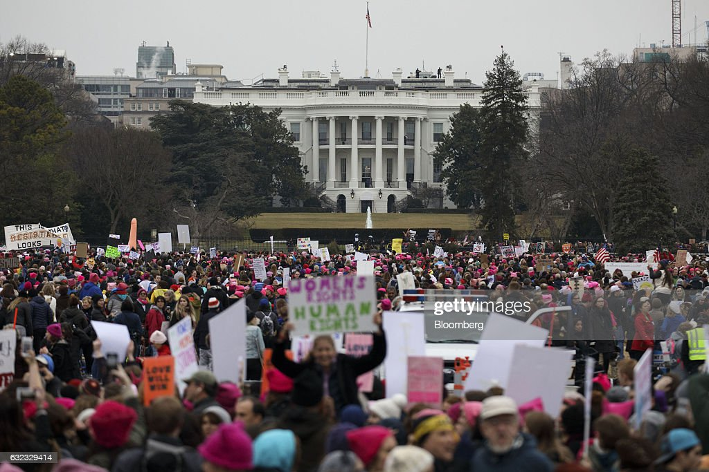 Demonstrators Take Part In The Women's March On Washington Following The Inauguration Of President Trump : News Photo