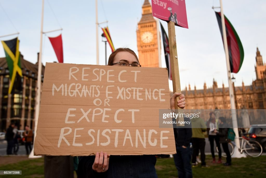 Demonstrators gather in Parliament Square to support guaranteed legal status for EU citizens in London, United Kingdom on March 13, 2017.