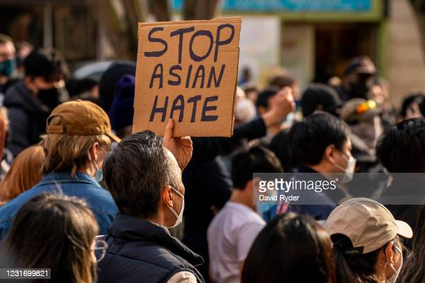 "Demonstrators gather in the Chinatown-International District for a ""We Are Not Silent"" rally and march against anti-Asian hate and bias on March 13,..."
