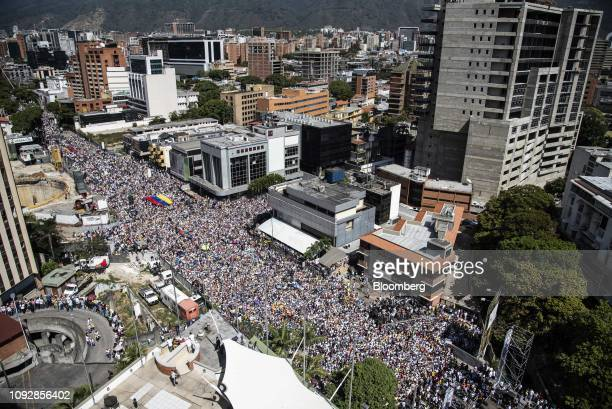 Demonstrators gather in the streets during a proopposition protest in Caracas Venezuela on Saturday Feb 2 2019 Thousands of opponents of Venezuela's...
