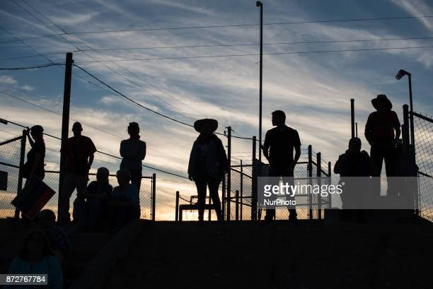 Demonstrators gather near the Eloy Detention Center in Eloy Arizona for a vigil held for detained immigrants on November 10 2017 This demonstration...