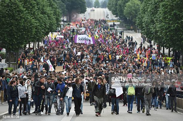 TOPSHOT Demonstrators gather on May 17 2016 in Nantes western France to protest against the government's planned labour law reforms Incidents between...