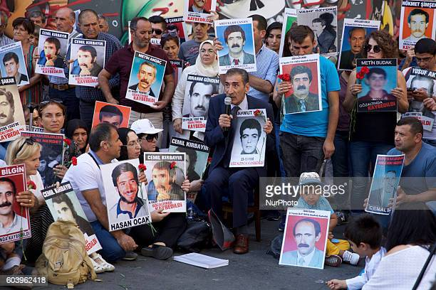 Demonstrators gather on the main pedestrian street in Istanbul on September 10 2016 to remember the 587 people mostly associated with the political...