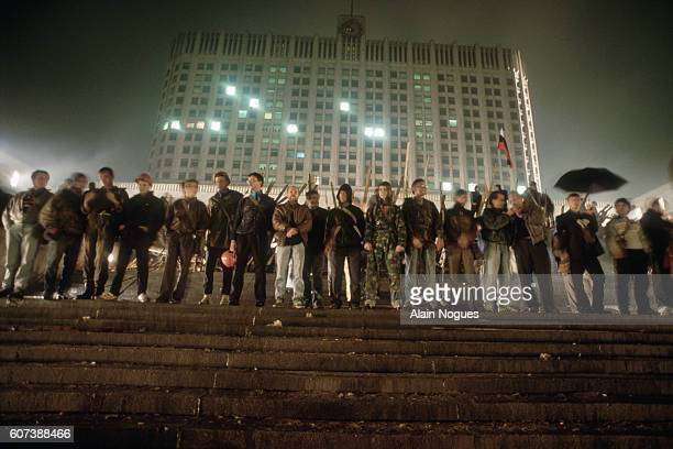 Demonstrators gather on the steps of the Russian White House during a 1991 coup attempt in Moscow. The State Committee for the State of Emergency, a...