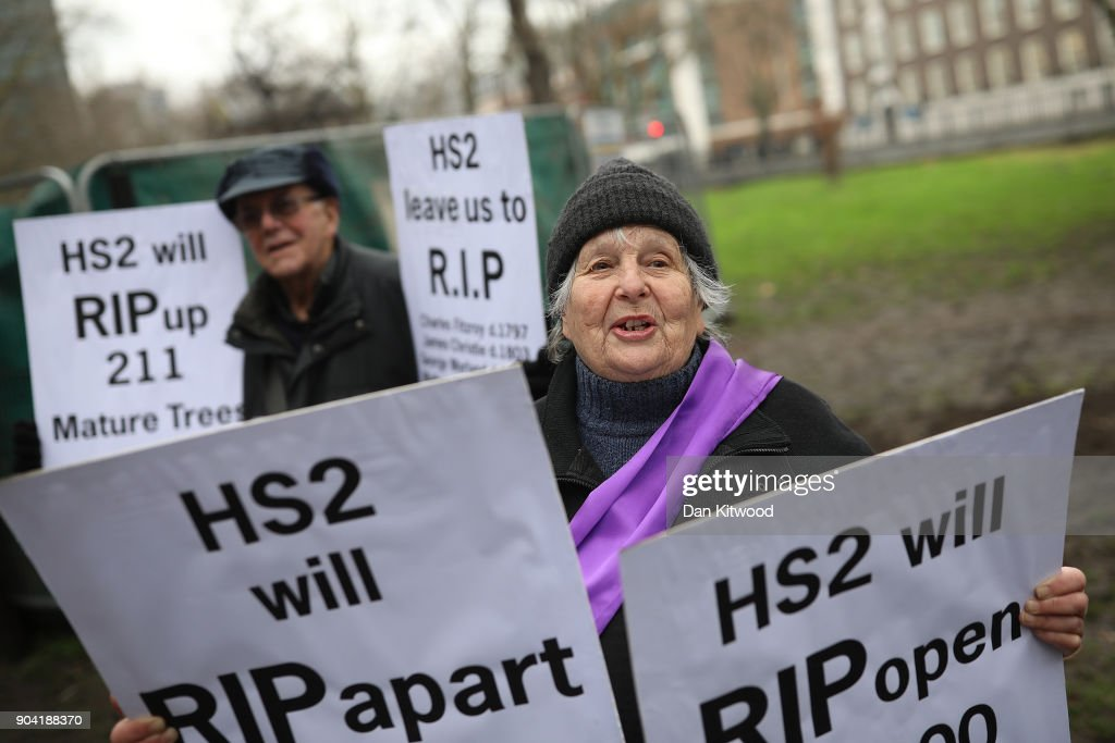 HS2 demonstrators gather outside Euston Station on January 12, 2018 in London, England. The protest was against the planned clearing of the trees in the area to make way for the controversial HS2 high-speed rail network that is to link London, Birmingham, Leeds and Manchester.