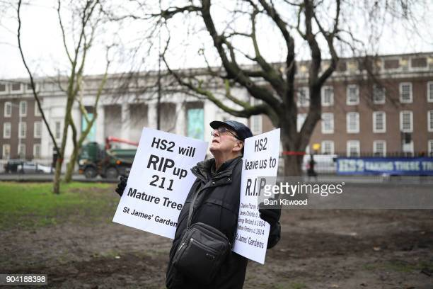 HS2 demonstrators gather outside Euston Station on January 12 2018 in London England The protest was against the planned clearing of the trees in the...