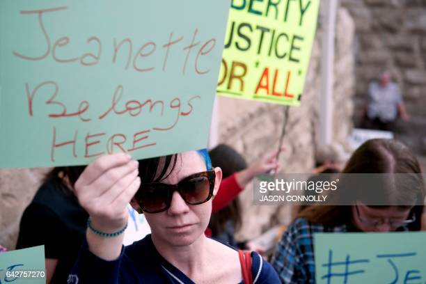 Demonstrators gather outside of the First Unitarian Church in support of Jeanette Vizguerra in Denver Colorado on February 18 2017 Vizguerra an...