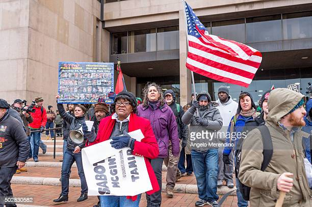Demonstrators gather outside of The Justice Center on Decmeber 29 2015 in Cleveland Ohio Protestors took to the street the day after a grand jury...