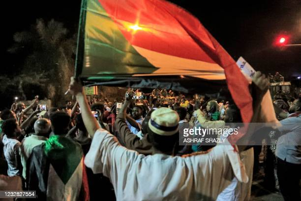 Demonstrators gather outside the army headquarters in Sudan's capital Khartoum on May 11, 2021 which corresponds to Ramadan 29, on the hijri-date...