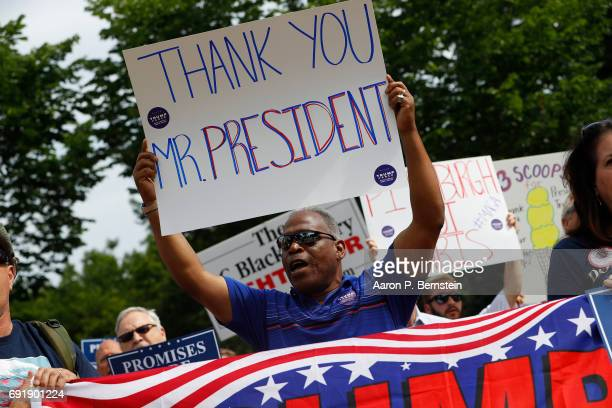 Demonstrators gather outside the White House to show support for President Donald Trump on June 3 2017 in Washington DC President Trump recently...